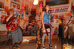 Miho Wada and the Sh*t Fight @ Trailer Space Records (jmtimages) Tags: newzealand summer music woman man musicians canon austin japanese concert shoes punk texas weekend live stripes flash july saturday jazz indoor 7d t juillet 2009 slowsync instore samedi mihowada