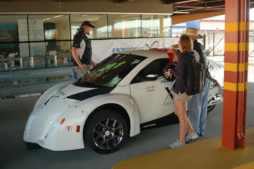 ZAP Alias electric car waiting to start the final X PRIZE race.