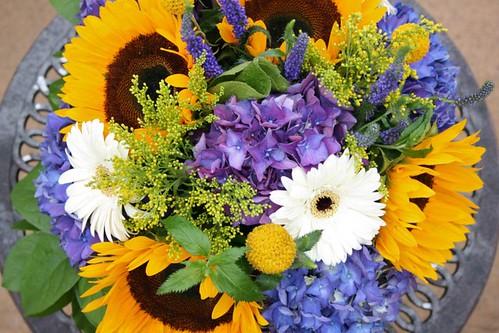 WEDDING FLOWERS sunflowers purple hydrangea gerbera daisies veronica