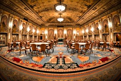 Crystal Ball Room in Millennium Biltmore Hotel (Mike Chen aka Full Time Taekwondo Dad) Tags: california usa mike monument ball carpet hotel la photo losangeles los chairs crystal angeles hyperfocal walk balcony room sony curtain millennium fisheye podium tables historical 28 banquet biltmore 16mm hdr cultural chen discover ldr metalman a900 sal16f28