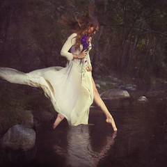 jumping in (brookeshaden) Tags: flowers trees water river jumping rocks dress floating explore gliding frontpage ophelia brookeshaden