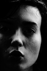 (julia farrell) Tags: light shadow selfportrait me girl face contrast dark blackwhite bodylanguage picnik