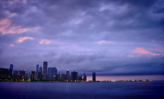 Storm's-a-Coming in HDR (Seth Oliver Photographic Art) Tags: chicago clouds buildings illinois nikon midwest nightlights skyscrapers lakes cityscapes sunsets lakemichigan chicagoatnight pinoy bigcity cloudscapes chicagoskyline urbanscapes longexposures shutterpriority d90 nightexposures 5secondlongexposure biglakes bigstormclouds bluehourshot setholiver1 nd4xfilter 18105mmnikkorlens bigmodernbuildings