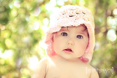 .baby doll. (*miss*leah*) Tags: summer baby sun hat eyes nikon doll bokeh expression crochet babydoll backlit pinkhat softtones catchlight crochethat nikond700 leahhoskins elitechildphotography elitechildimages