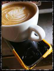 Cracked iPhone 3G Capp (coffeeruas) Tags: art coffee daily latte cappuccino iphone