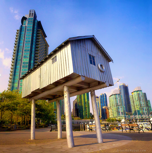 Today in Vancouver: Keeping you High and Dry! House on Stilts in Coal Harbour