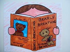 Doodle Day 20 (periwinklepenguins) Tags: bear mystery illustration pen dead reading book drawing journal doodle killer marker thriller onthecover schmoodle killerthriller