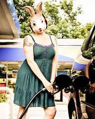 Rabbit Fuels Up (sadandbeautiful (Sarah)) Tags: portrait woman selfportrait me female self okayihadahandfromdepdenise onourwaybackfromseeingmyphotoofherinthestatemuseumofpaandfindingoutitsold