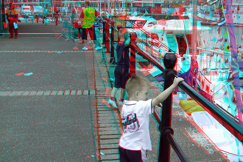 3D anaglyph picture red blue glasses to view photo a Fire escape
