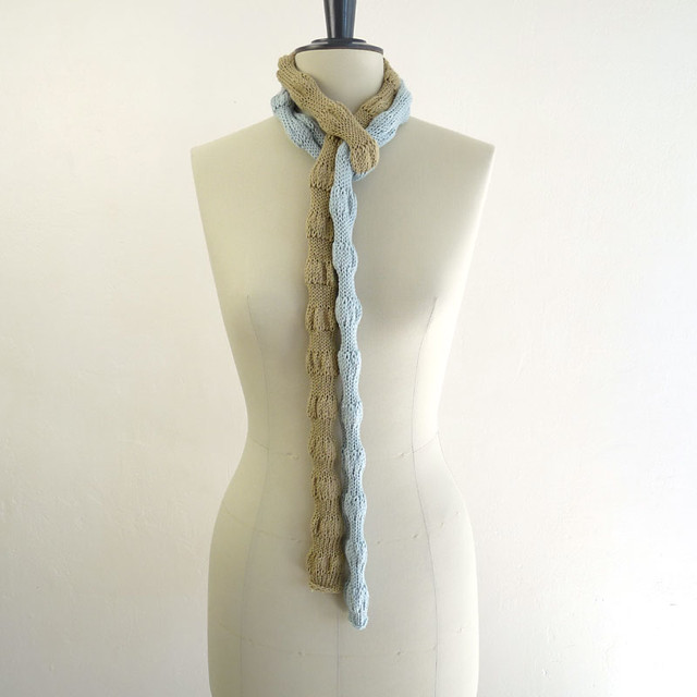 Super long scarf. Hand-knit. Organic cotton. Wheee.