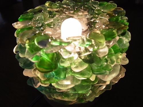 Green Seaglass Lamp Shade