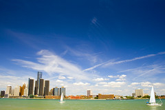 Detroit ~ East Side (paulhitz) Tags: blue green skyline clouds sailboat michigan detroit sailboats contrails detroitriver detriot paulhitz
