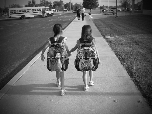 first day of school B&W