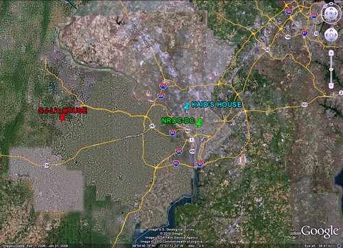 DC region & locations of NRDC, my house, and sister-in-law's house (via Google Earth, markings by me)