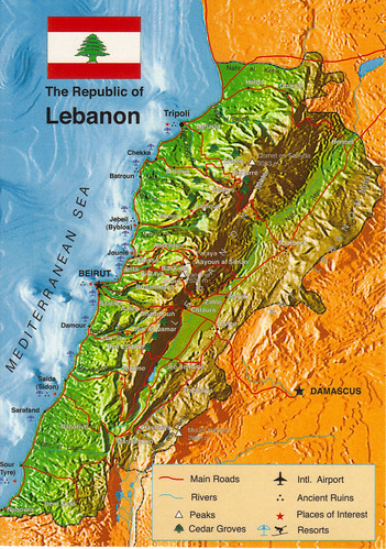 Lebanon Map Postcard a photo on Flickriver