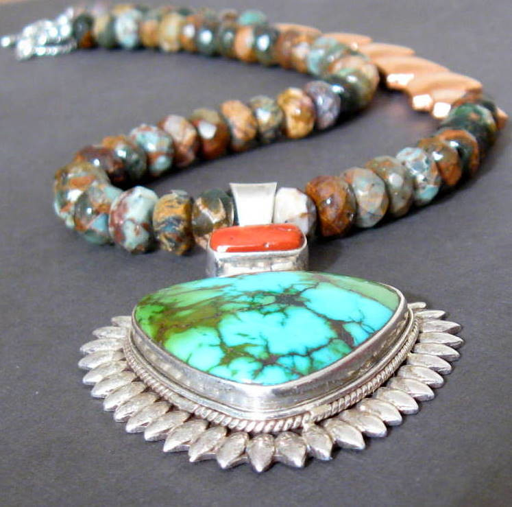 Copper Green Opal Turquoise Autumn Silver Necklace