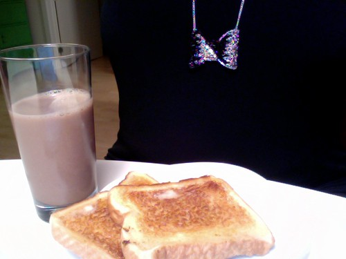 buttered toast, chocolate milk