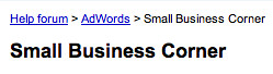 AdWords Small Business Corner