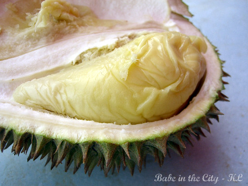 Close up of durian pulp