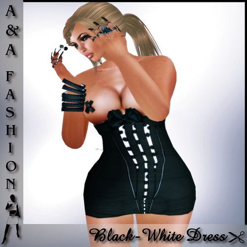 A&A Fashion Black White Dress
