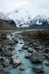 New Zealand glacial river (borealnz) Tags: winter newzealand cloud mist snow mountains cold ice river landscape nationalpark scenery rocks scenic overcast canterbury glacier boulders nz mtcook rugged glacial aoraki aorakimountcook borealnz