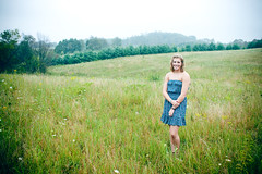 Melanie Poorman 27 sRGB (WBK Photography) Tags: morning flowers people urban woman nature senior girl smile field grass fog lady hair outside outdoors countryside early dress country melanie foggy overcast places curly outfitters poorman
