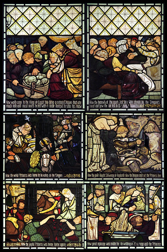 Stained glass panels - The Legend of St. George and the Dragon