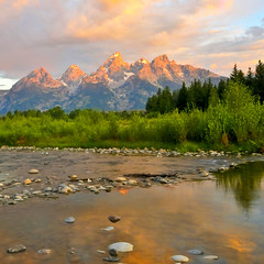 Fiery Reflections Grand Teton Sunrise (NikonKnight) Tags: sunrise river grand teton tetons grandteton hdr photomatix tetonnationalpark lr2
