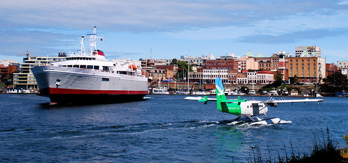 Ferry and floatplane, Victoria, BC, Canada