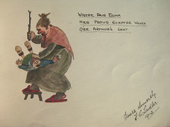 Lena's Autograph Book 087 (badhesterprynne) Tags: art vintage watercolor painting book sketch comic drawing antique cartoon autograph watercolour 1912 1910s spanking pun whipping autographbook birching