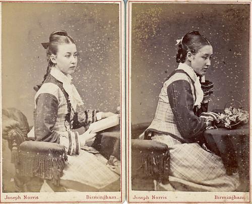 Sisters in identical dresses. Birmingham.