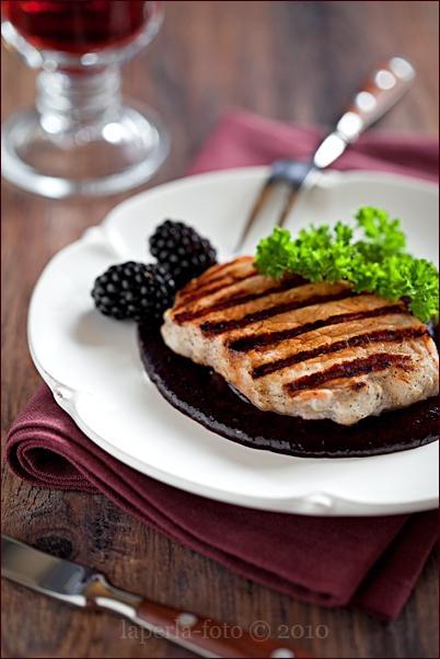 Grilled Pork and Blackberry & Rosemary Jam