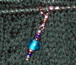 Blue beaded stitch marker