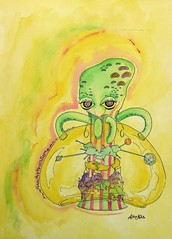 Utopia (Allise Noble) Tags: world painting drawing bubble octopus sciencefiction universe