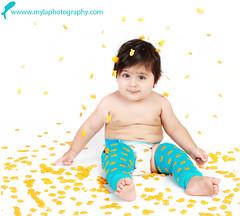 . (mylaphotography) Tags: blue boy food fish ads gold goldfish snack raining leggings warmer babylegs