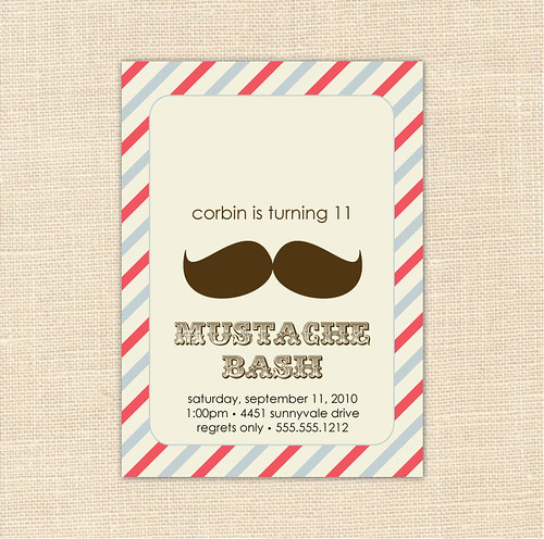 Bash Invitations Mustache Bash Invitation