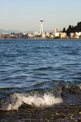 Space Needle (ianmckay) Tags: seattle water spaceneedle pugetsound crashingwave