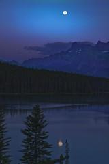 Goodnight Moon (Anne Strickland) Tags: canada alberta moonlight albertacanada bluemoon banffnationalpark mtrundle moonoverlake twojacklake romanticevening moonlightoverlake moonovermtrundle mountainmoonlight