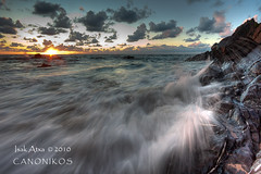 Last Rays of the Summer Sunset `[Explore] (saki_axat) Tags: sunset sea summer sun seascape nature canon landscape atardecer coast mar waves playa explore bizkaia bakio cantabrico 50d canonikos