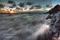 Last Rays of the Summer Sunset `[Explore] (saki_axat) Tags: sunset sea summer sun seascape nature canon landscape atardecer coast mar waves playa explore bizkaia bakio cantabrico 50d canonikos
