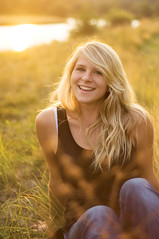 (victoriacarlson) Tags: school sunset summer portrait woman black water senior girl up field grass smiling digital laughing hair happy fire golden evening photo high nikon tank sundown top yearbook jeans hour blonde teenager glowing session knees wavy giggly d90
