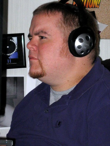 Michael at His Desk at Work with his Standard Headphones in Place http://flic.kr/p/8vPk2F