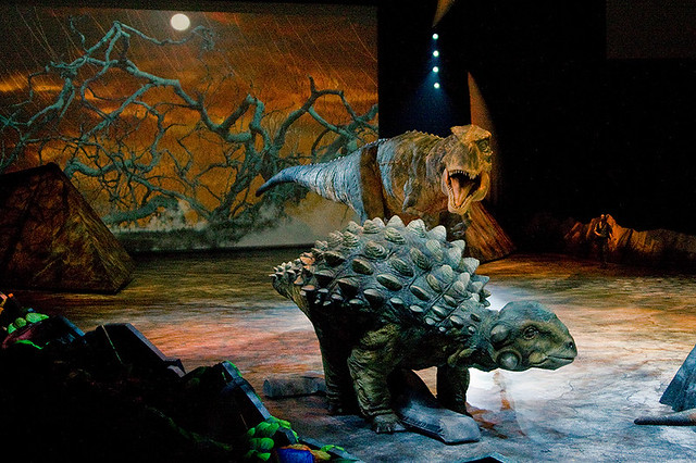Ankylosaurus and T-rex (and the narrator to the right)