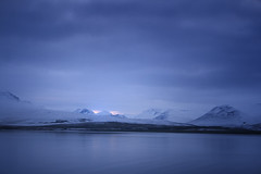 Blue (v on life) Tags: blue mountain snow reflection water iceland dusk eyjafjrur ringroad