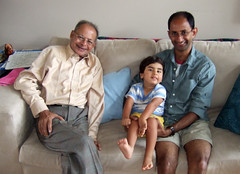 Shami and Oliver with Dadu