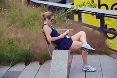 newyorkcity sunglasses bench reading book alone ipod manhattan sneakers solitary highline