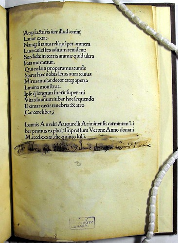 Page of text with colophon from 'Carmina.' Sp Coll Ferguson Aq-y.65