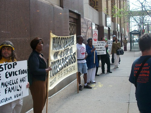 Moratorium NOW! Coalition demonstration outside the Bank of America in downtown Detroit in defense of Michelle Hart who is facing eviction by the financial institution. The protest was held on September 1, 2010. (Photo: Abayomi Azikiwe) by Pan-African News Wire File Photos