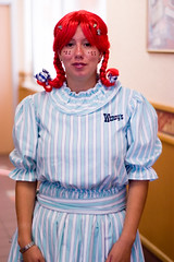 DSC_0352_wendy (parlance) Tags: california portrait 50mm losangeles costume nikon raw dress stripes fastfood nikond100 wendys freckles pigtails wendy redhair employees bloomers parlance fadedblurred3652010